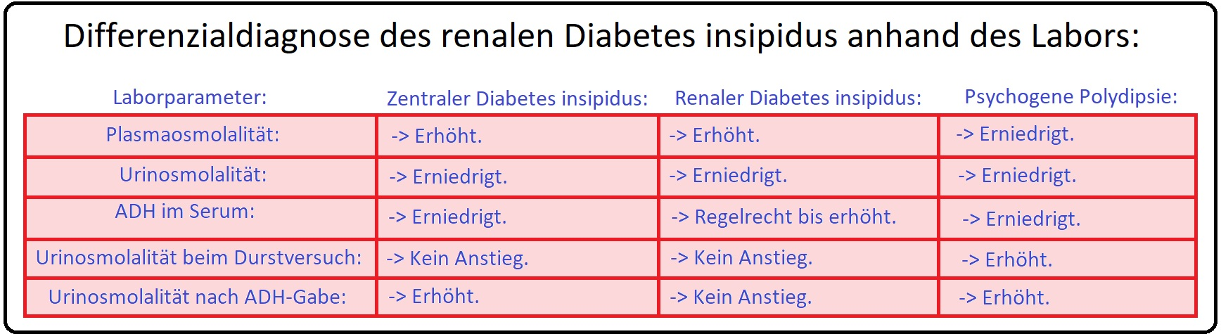 861 Differenzialdiagnose des renalen Diabetes insipidus anhand des Labors